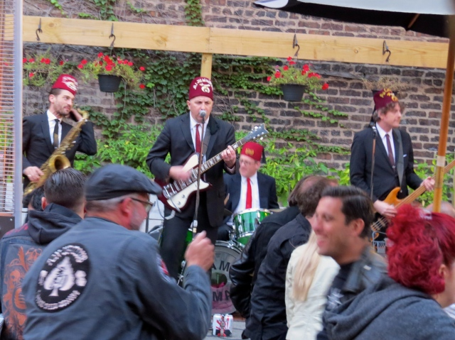 Ended the day with a great dinner at a neighborhood bar, enjoying our biker friends, the Fez wearing rockabilly band.